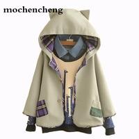 Japanese New Autumn Winter female College Cloak Coat Women Cotton Hooded Woolen Jacket Sweet Cat Ear Casual Wool Cloak Overcoat
