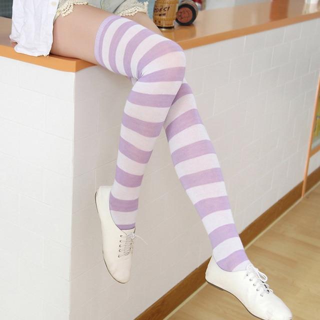 Mode Japanse Kawaii Zoete Vrouwen Streep Kousen Katoen Over De Knie Panty Studenten Meisjes Sexy Hoge Multicolor