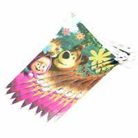 Маша и Медведь 10 шт. 2,5 м Мультяшные флаги-растяжки, одноразовые баннеры, вечерние баннеры, Детские баннеры на день рождения