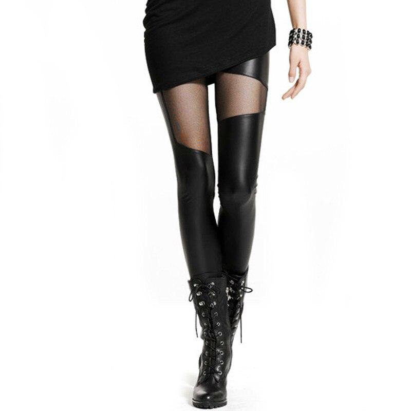 CHRLEISU Leather Legging Women Fashion Black Patchwork Nets Spring Sexy Slim Push Up Trendy Femme Leather Leggings Women