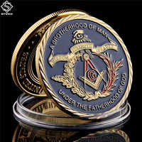 Gold Coin European Masonic Freemasonry Brotherhood Gold And Blue Color Round Double Commemorative Coin
