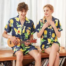 2019 Miarhb New Style Silk-like Couples Pajamas Sort-Sleeve With Sort pants Pajama Two Piece Set Sleepwear Nightgown Home Suit
