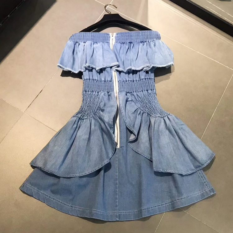 Robes Robe 2018 Volants Mode Slash Cou Streetwear Été Bouton Denim Printemps Casual Sexy Mini Femmes 6cTqrqvCW