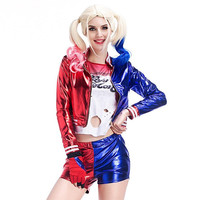 Suicide Squad Harley Quinn Cosplay Halloween Costume T shirt Coat Jacket Set Golve Sexy Fancy Outfit for adult women
