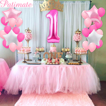 PATIMATE First Birthday Air Number Foil Balloons Baby Shower Boy Girl 1st Party Decorations Kids Balloon Kit
