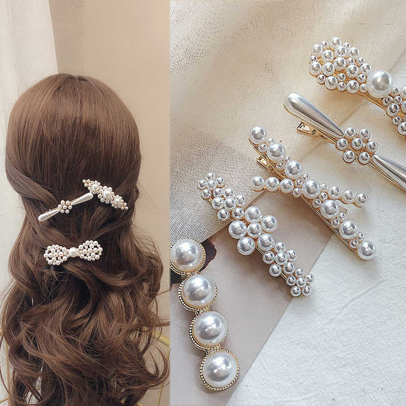 Fashion 1-3pcs/set Charm Women Pearl Hair Clip Snap Barrette Stick Sweet Hairpin Bobby Hair Accessories For Girls