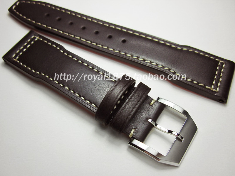 2019 high quality Hand Stitching Calfskin Strap Brown Genuine Leather WatchBands With Pin Buckle 20 21 22mm for IWC Watches Men