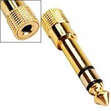 3,5 мм до 6,35 мм адаптер 3,5 штекер до 6,35 Джек стерео аудио адаптер для микрофона наушников AUX кабель Золотой Аудио адаптер Горячая Распродажа