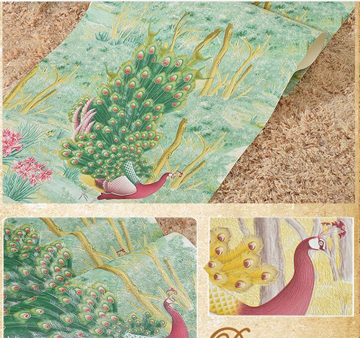 Papier peint de paon de l'asie du sud-est de catégorie supérieure pour les murs 3d papier peint 3d en relief profond de mur chambre salon décor à la maison papiers peints - 6