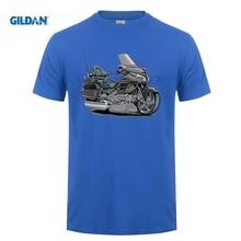 designer t shirt Men Brand Clothihng Top Quality Fashion Mens T Shirt 100%Cotton Goldwing grey Biker Dark T-Shirt