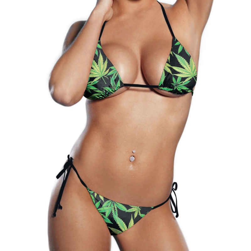 2019  Bikini Set Summer Black Milk Hemp Leaf Weed Bathing Suit String Bra Underwear Brazilian Print Women Swimwear Swimsuit