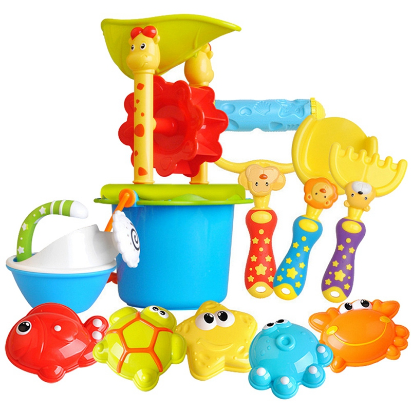 11pcs Funny Kids Beach Sand Game Toys Set Shovels Rake Hourglass Bucket Children Outdoor Beach Playset Role Play Toy Kit
