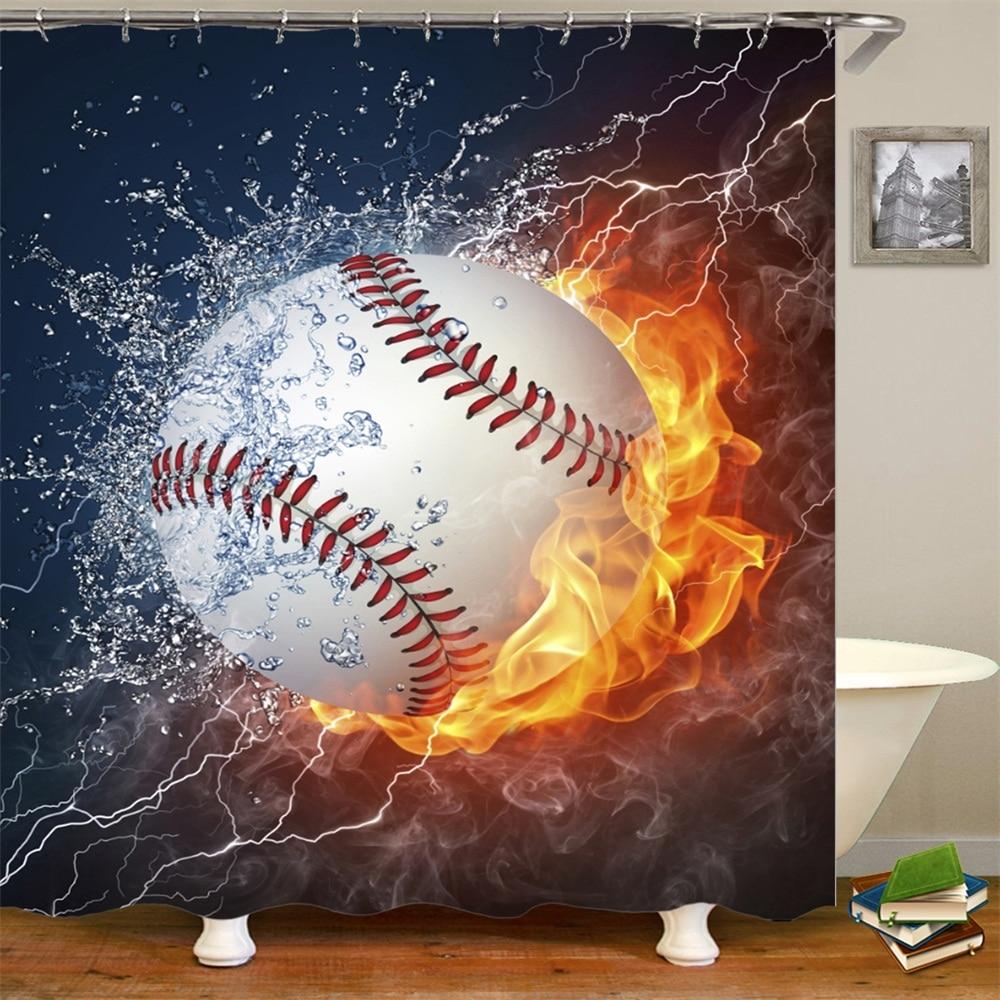 Shower Curtain Set With Hooks Baseball