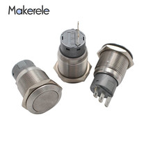 1PC Thread Stainless Steel Latching Self-lock Push Button Switch  LED 16mm Momentary 1NO 1NC 5Pin