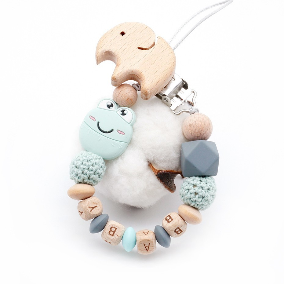 New Cute Cartoon Mini Smile Frog Plus Beech Elephant Clip DIY Baby Pacifier Chain Can Be Customized Name Toys Holder Accessories