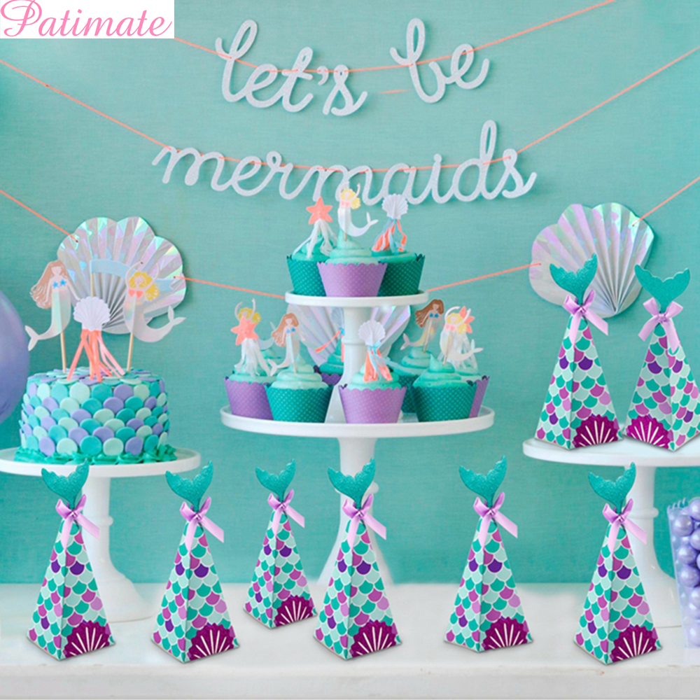 Patimate Little Mermaid Party Supplies Mermaid Theme Decor Banner Balloon For Kids Favor Happy Birthday Wedding Party Decor