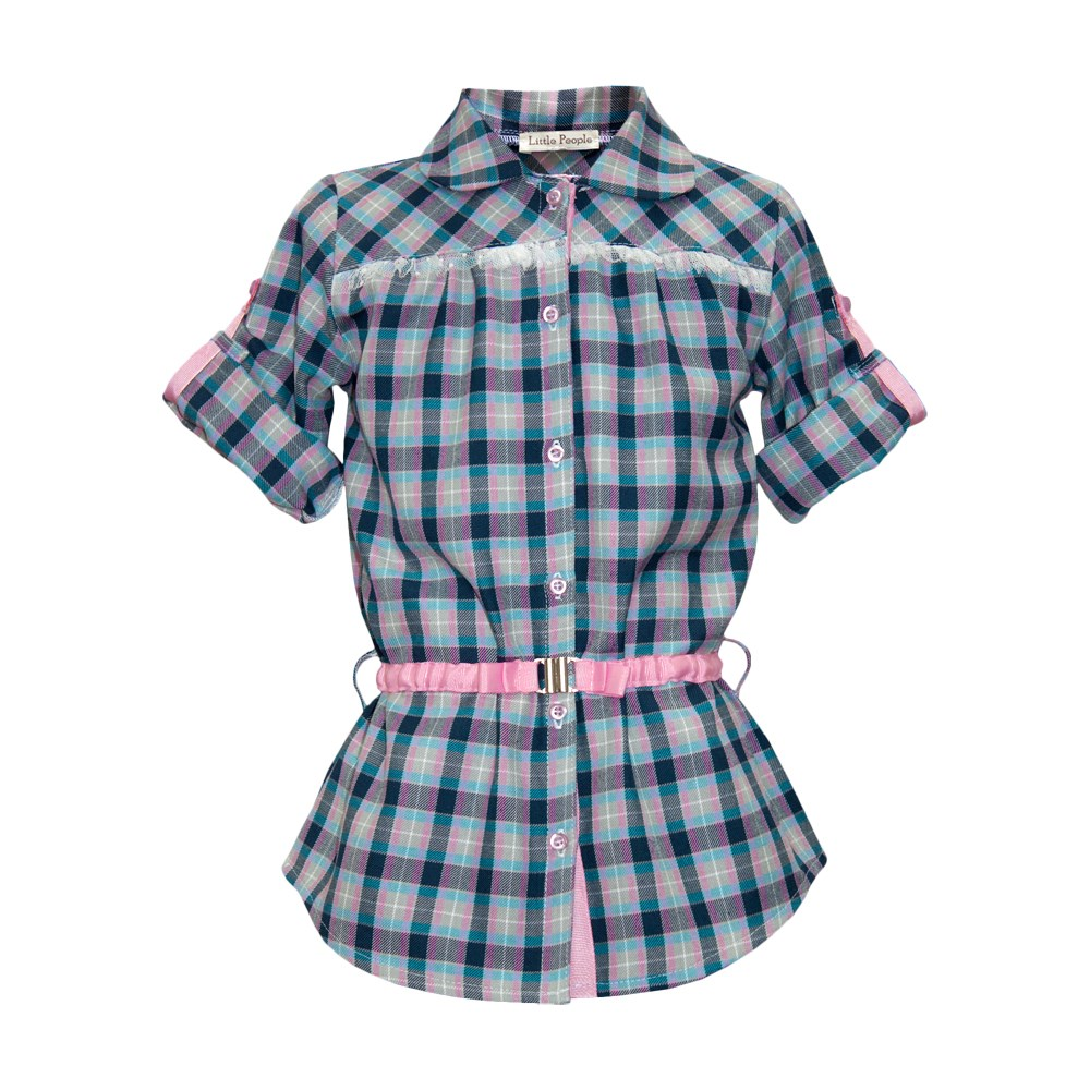 Blouse tunic plaid kids clothes children clothing curved hem plaid blouse