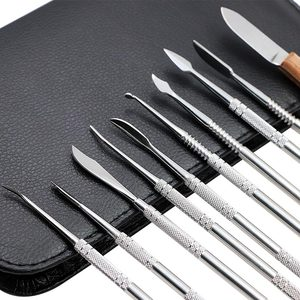 Image 2 - 10pcs Dental Wax Carving Tools Set with Kit Carver Mixing Spatula Knife Dental Lab Equipment Stainless Steel Double Ends
