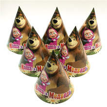 6pcs/lot Masha And Bear Cartoon Christmas Birthday Party Decorations Kids Favor 20*14cm Disposable Paper Hats Caps