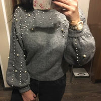 Women Autumn Winter Casual Gray Long Short Jumper Pearl Knit Sweaters Pullover women sweaters and pullovers korean style long