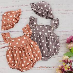 High Quality Cotton Baby Girl Clothing Hat Set Summer Polka Dot Ruffle Sleeveless Rompers For Newborn Toddler Kids Body Jumpsuit