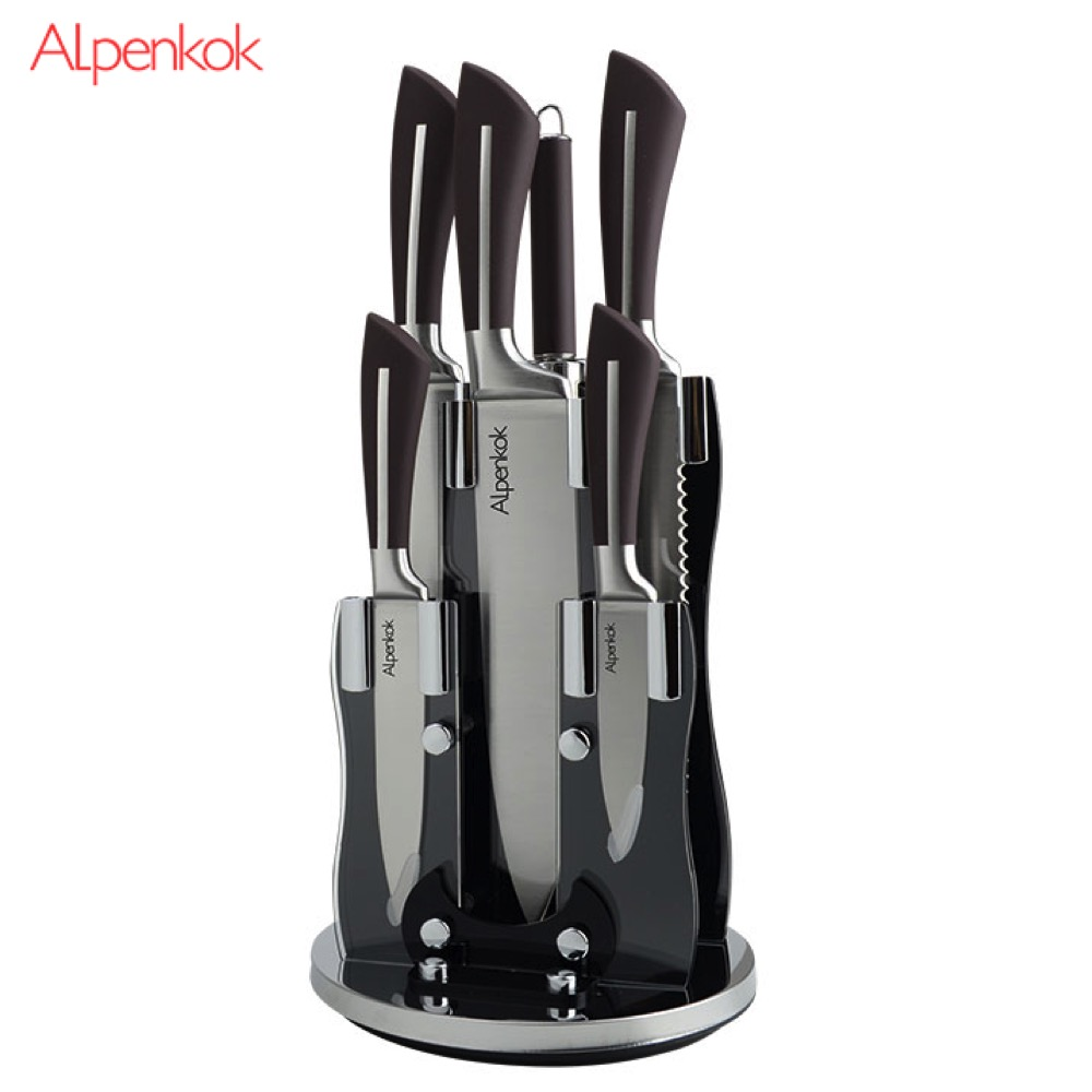 Kitchen Knives Alpenkok AK-2091 Knife with stand meat chef for fish vegetable cutting universal set Sets black blade ceramic knife set chef s kitchen knives 4 size
