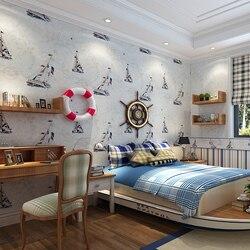Mediterrane Zeilboot Kinderkamer Behang Papier Roll Voor Kids Jongen Beddengoed Kamer Papel De Parede Muur Papers Home Decor
