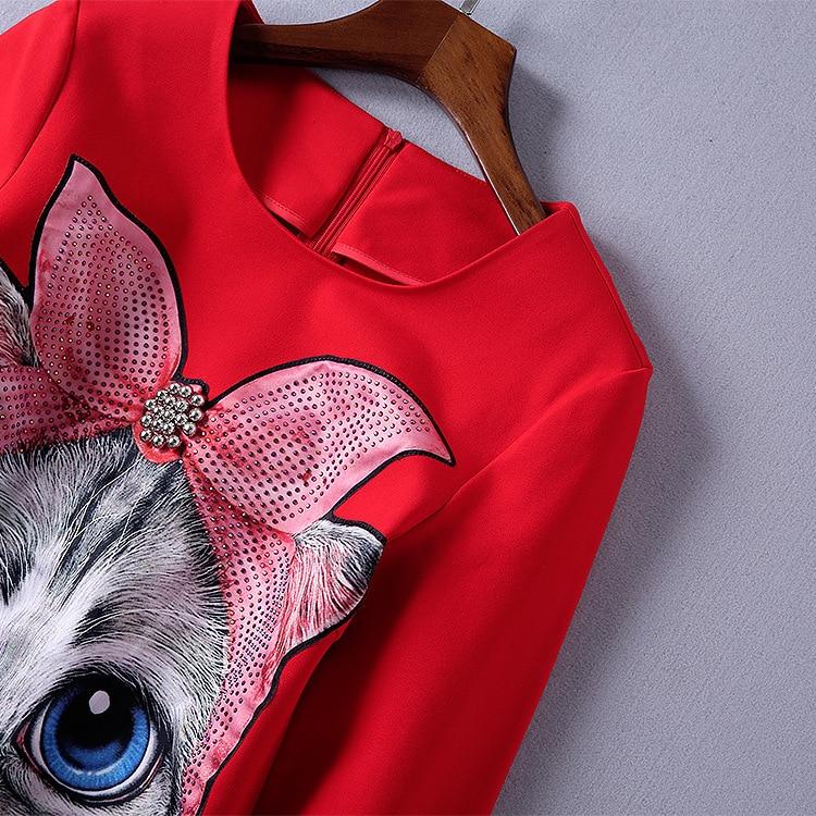 Bande Femmes Casual 2018 Droite Style Rouge Imprimer De Perles Lâche Manches Robe Dessinée Automne Noir Mignon Nouveau Layered Lolita EfRwcqIw0