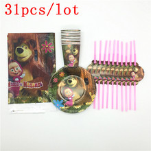 Masha and Bear Theme 31Pcs/Lot Disposable Tableware Sets Baby Shower Children Birthday Party Decorations for 20 People Supplies