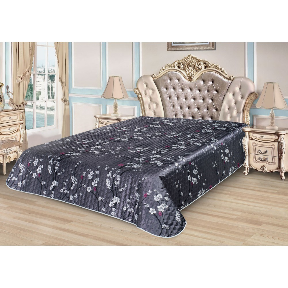 Bedspread Ethel Silk Sakura, size 180*220 cm, faux Silk 100% N/E flounce sleeve faux pearl beading lace top