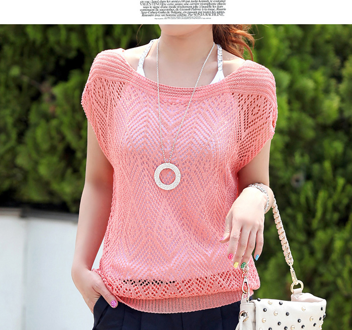 New Arrival 2019 Ladies' Loose Thin Cutout Batwing Sleeve Air Conditioning Blouse Pullover Sweater For Spring/summer/autumn