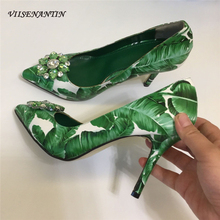 VIISENANTIN 2019 new green leaf printing high heel shoes 6cm 10cm shallow mouth pointed toe sapatos crystal summer shoe