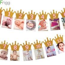 Frigg pierwszy baner urodzinowy girlandy jeden rok stary Baby Shower chłopiec 1 urodziny 1 solenizant baner urodzinowy wystrój