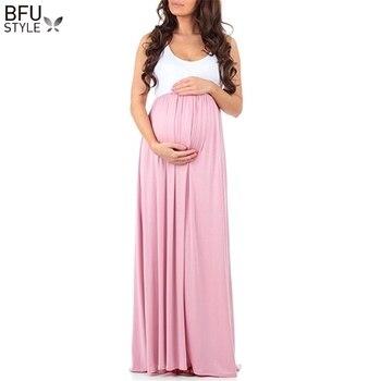 514bd0906 Vestidos de maternidad de verano fotografía apoyos Maxi madre vestido sin  mangas del vestido de embarazada