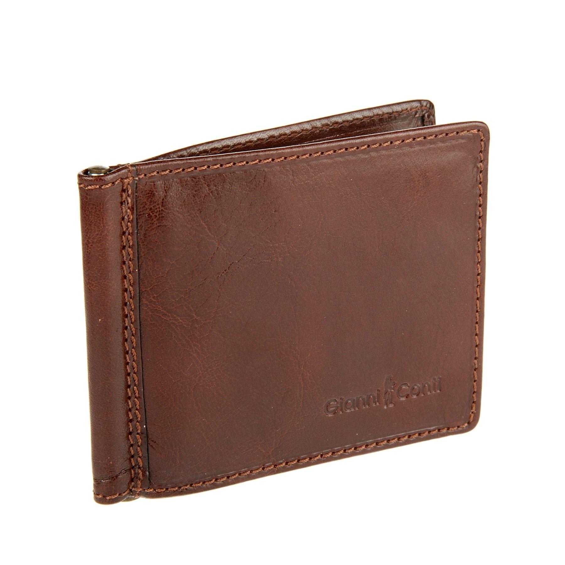 Money clip Gianni Conti 907101 Brown 2017 men leather brand luxury wallet vintage minimalist short male purses money clip credit card dollar price portomonee