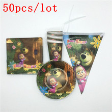50pcs/lot Masha and Bear Theme Disposable Tableware Sets Paper Plates+Cups+Napkins+Flags Kids Favor Birthday Decoration Supplies