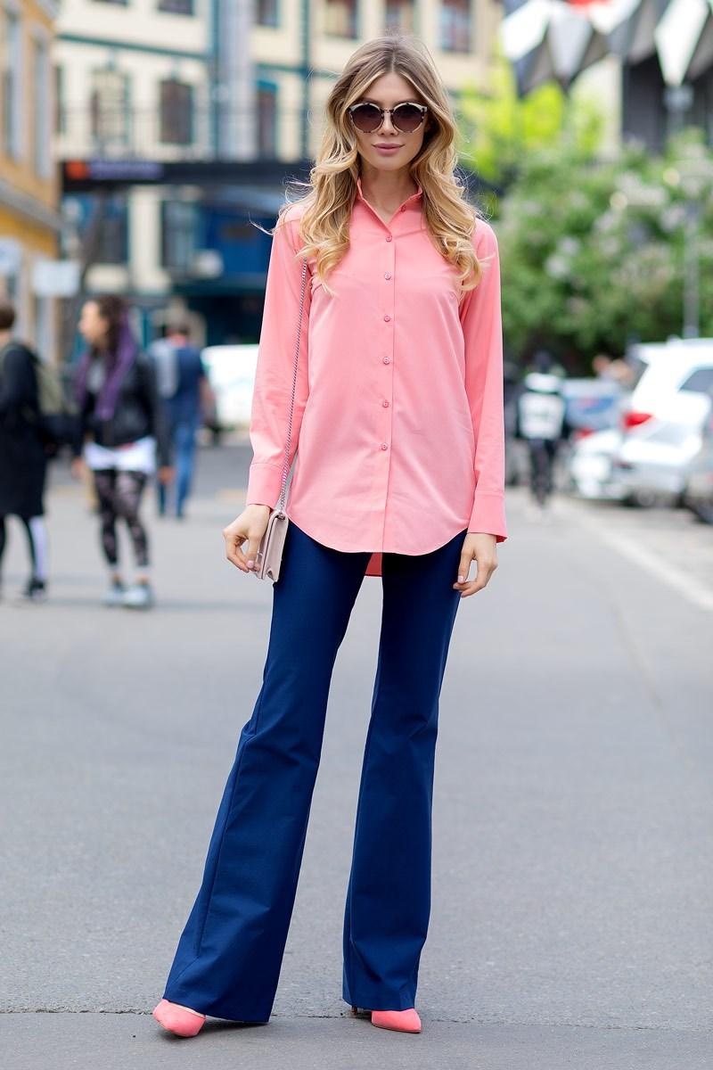 Blouse 1208241-54 hollow out solid color blouse