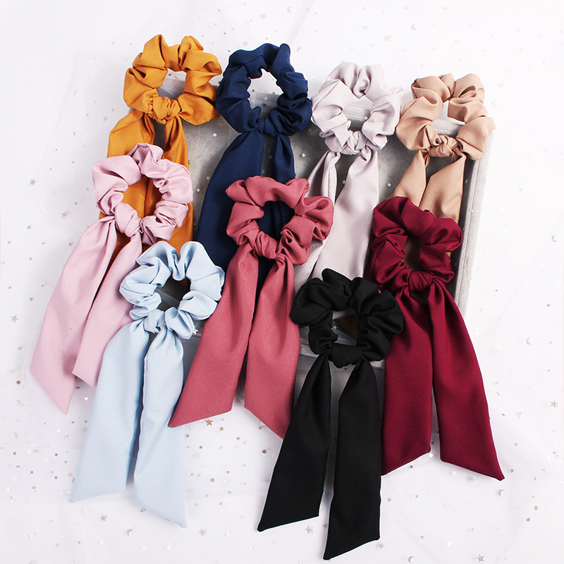 Hot Bow Streamers Hair Ring Fashion Ribbon Hair Bands Scrunchies Horsetail Tie Solid Color   Headwear   Hair Accessories For Girl