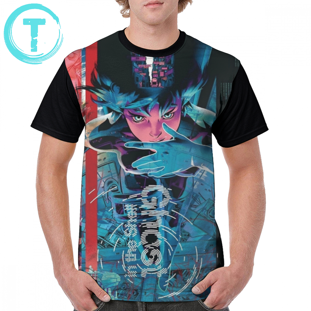 Ghost In The Shell T Shirt Ghost In The Shell T-Shirt 100 Polyester 5x Graphic Tee Shirt Short Sleeve Cute Print Summer Male Tshirt