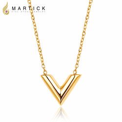 Martick 316L Stainless Steel 금-색 V 문자발송 & # Shap 펜 던 트 Necklace Link Chain Necklace Fashion Jewelry Top Quality 대 한 소녀