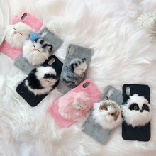 Creative cute simulation cat mobile phone case for iPhoneX XS XR XSMax 8 7 6 6S PluS 3D plush animal anti-fall protection cover