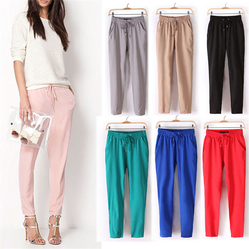 Spring And Summer New Super Drape Comfortable Bright Color Elastic Waist Casual Harun Pants Chiffon Drawstring Pants