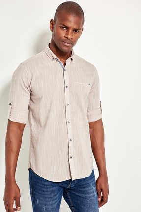 Steen mannen Slim Fit Dichtgeknoopt Kraag Shirt Pocket Filet TMNSS19RS0014