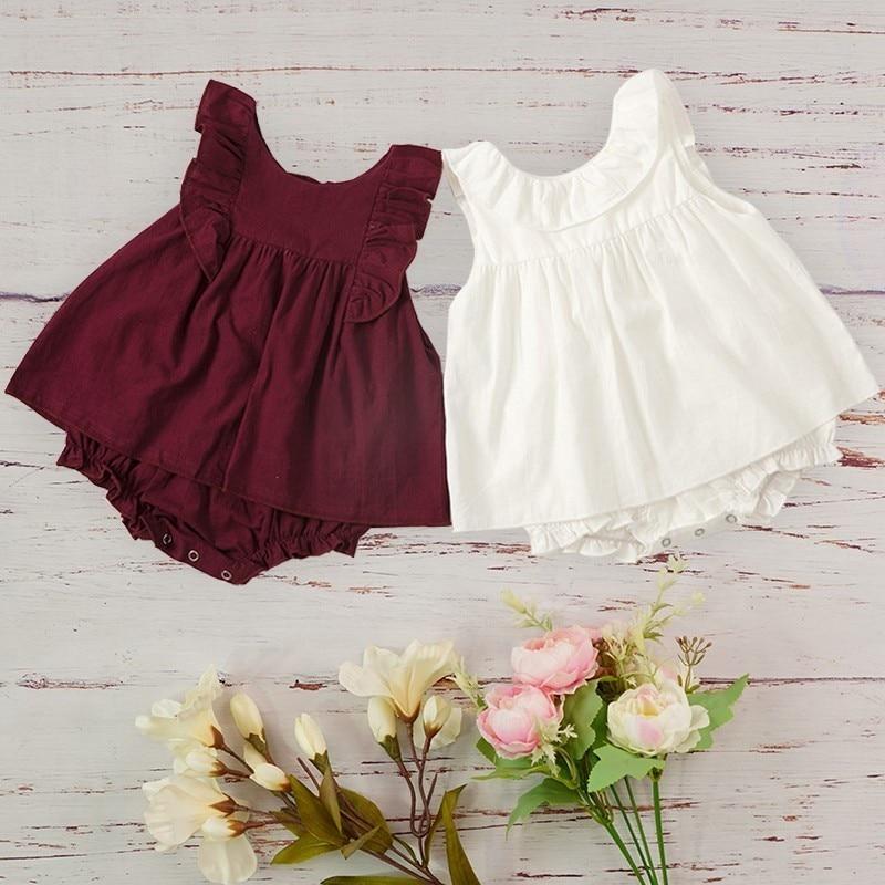 Venda quente prematura novo nascido roupas de bebê conjunto macacão da criança meninas verão roupa 2019 tamanho 3 6 12 24 mês roupa infantil menina
