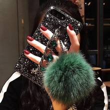 Glitter hair ball luxury diamond phone case for iPhone X XS XR XSMax 8 7 6 6S PluS pendant protection drop cover