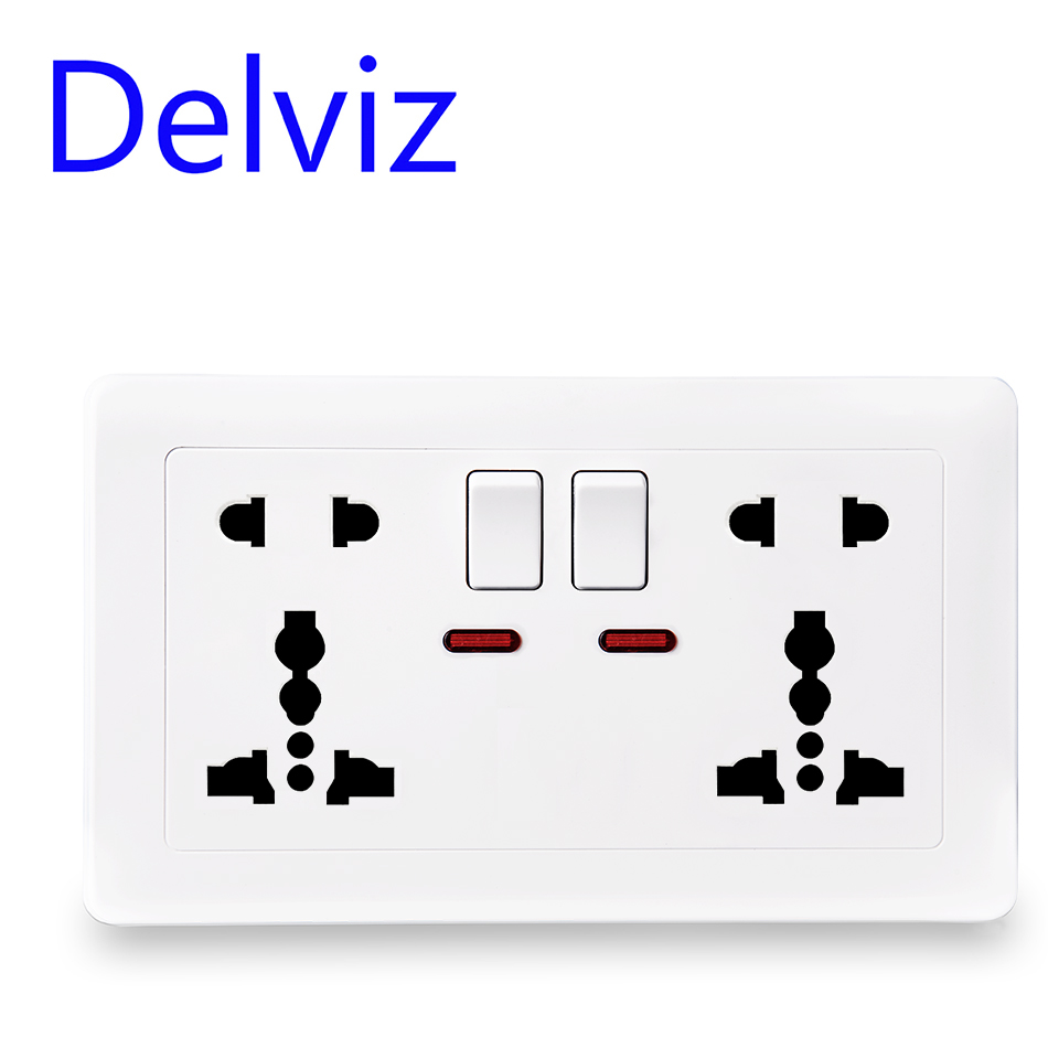 Delviz EU Standard Universal Socket, Multi-functional International Two Five-hole Socket, Switch Control Socket, AC 100~250V 13A