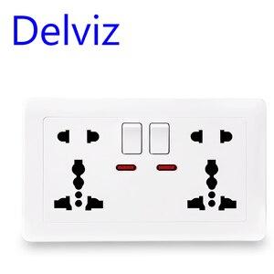Delviz EU standard universal socket, multi-functional international two five-hole socket, switch control socket, AC 100~250V 13A(China)