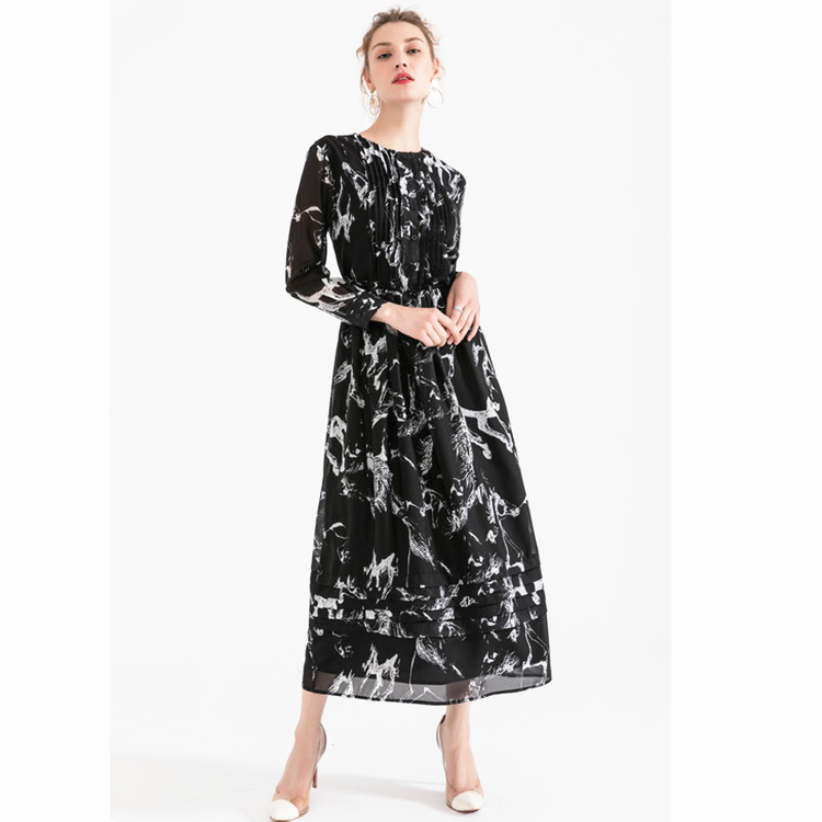 6714b66d18ec Casual Abiti Modo Abbigliamento Lavoro Vestiti Donne Donna Partito Midi  2018 Vestito Elegante Sottile Della Stampa ...