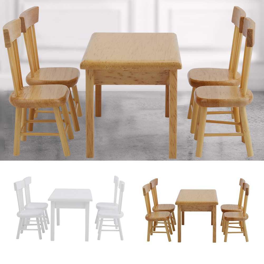 5 шт. Детские куклы игрушки обеденный стол модель стула набор 1:12 весы кукольный домик миниатюрная мини мебель детские подарки для ролевых игр