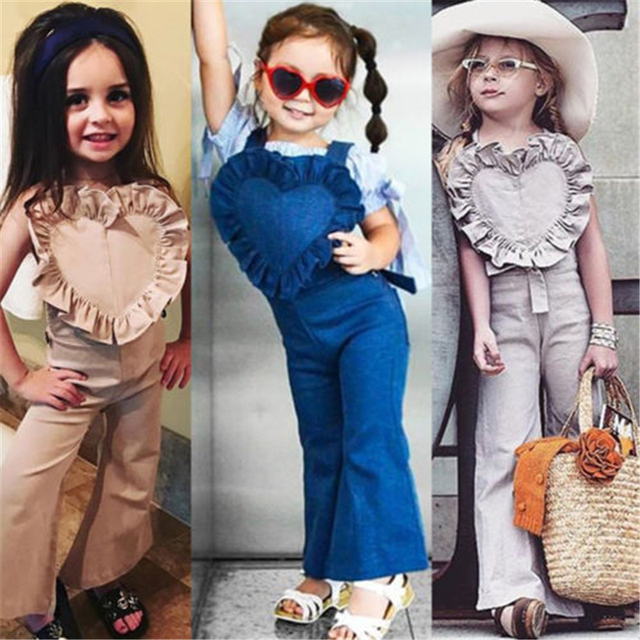 2d56d8f35d9 AU Princess Kids Girls Bib Pants Bell Bottoms Flared Romper Jumpsuit  Outfits Hot New Solid Heart Sweet Baby Girl Overalls Vogue